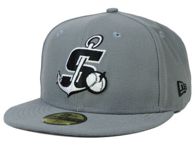 Stockton Ports New Era MiLB Gray Black White 59FIFTY Cap