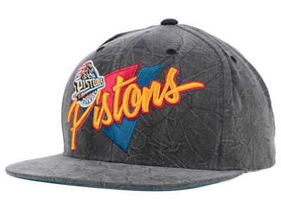 Detroit Pistons Mitchell and Ness NBA Creased Script Snapback Cap