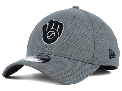 Milwaukee Brewers New Era MLB NE Diamond Era Gray Black White 39THIRTY Cap