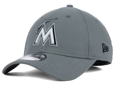 Miami Marlins New Era MLB NE Diamond Era Gray Black White 39THIRTY Cap