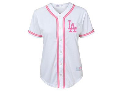 Los Angeles Dodgers Majestic MLB Girls CB Pink Glitter Jersey