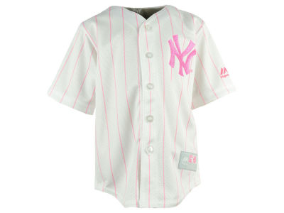 New York Yankees Majestic MLB Toddler Cool Base Pink Glitter Jersey