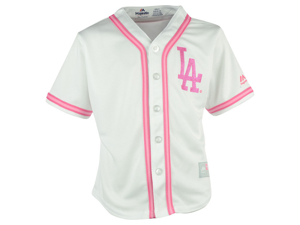 Los Angeles Dodgers Majestic MLB Toddler Cool Base Pink Glitter Jersey  abf7a020af4