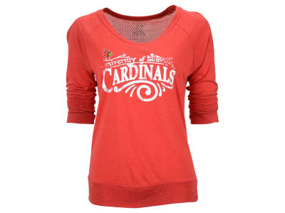 Louisville Cardinals Blue 84 NCAA Women's Scuff Jr Meshey Long Sleeve Raglan Shirt