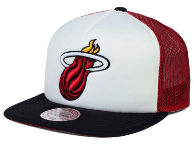 Miami Heat Mitchell and Ness NBA XL Mesh Snapback Hat