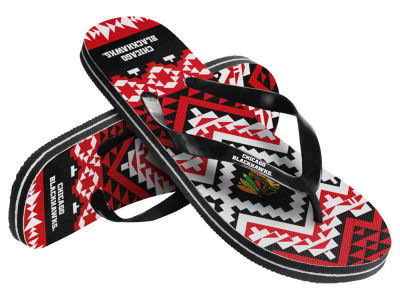 Chicago Blackhawks Forever Collectibles Women's Aztec Flip Flops