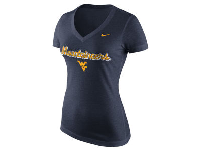 West Virginia Mountaineers Nike NCAA Women's Mid V-Neck Script T-Shirt