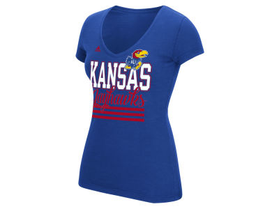 Kansas Jayhawks adidas NCAA Women's 3 Stripe Stack T-Shirt
