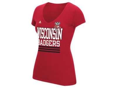 Wisconsin Badgers adidas NCAA Women's 3 Stripe Stack T-Shirt