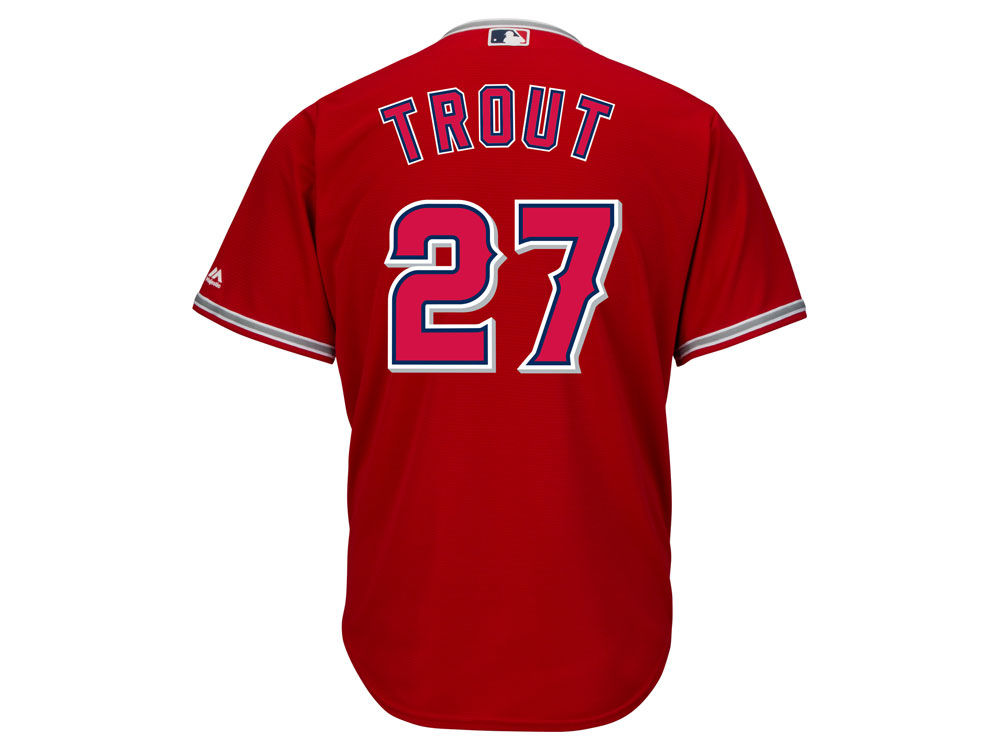 los angeles angels mike trout majestic mlb mens player replica cool base jersey