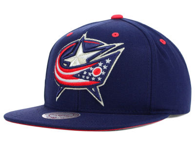 Columbus Blue Jackets Mitchell and Ness NHL Current XL Logo Solid Snapback Cap