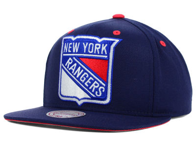 New York Rangers Mitchell and Ness NHL Current XL Logo Solid Snapback Cap