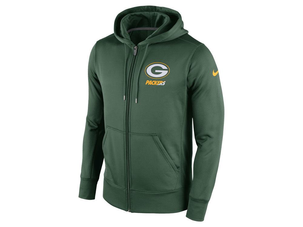 6368691bf Green Bay Packers Nike NFL Men s Sideline KO Fleece Full Zip Hoodie ...