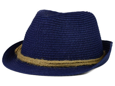 LIDS Private Label PL Navy Straw Fedora w/ Braided Rope Band