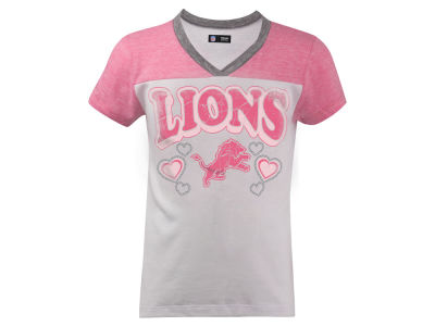 Detroit Lions 5th & Ocean NFL Youth Pink V-Neck T-Shirt