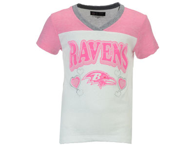 Baltimore Ravens 5th & Ocean NFL Youth Pink V-Neck T-Shirt