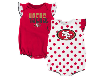 San Francisco 49ers Outerstuff NFL Newborn Polka Fan 2 Piece Creeper Set