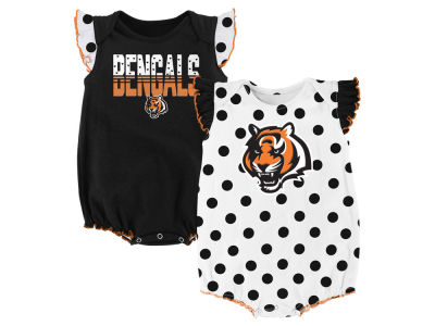 Cincinnati Bengals Outerstuff NFL Newborn Polka Fan 2 Piece Creeper Set