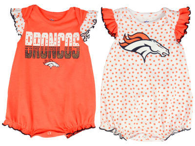 Denver Broncos Outerstuff NFL Newborn Polka Fan 2 Piece Creeper Set