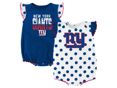 New York Giants Outerstuff NFL Newborn Polka Fan 2 Piece Creeper Set