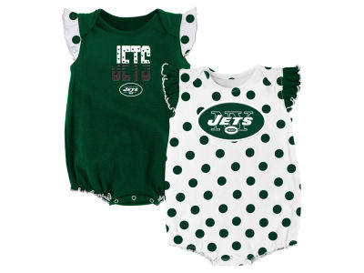 New York Jets NFL Newborn Polka Fan 2 Piece Creeper Set