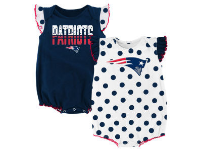 New England Patriots Outerstuff NFL Newborn Polka Fan 2 Piece Creeper Set