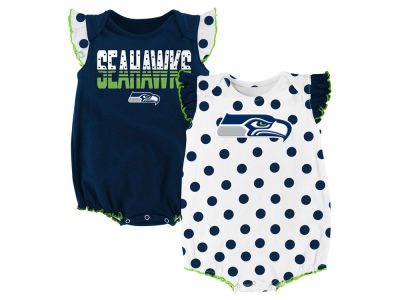 Seattle Seahawks Outerstuff NFL Newborn Polka Fan 2 Piece Creeper Set