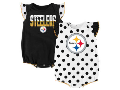 Pittsburgh Steelers Outerstuff NFL Newborn Polka Fan 2 Piece Creeper Set