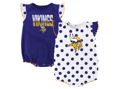 Minnesota Vikings NFL Newborn Polka Fan 2 Piece Creeper Set