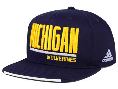Michigan Wolverines adidas NCAA Travel Flat Brim Snapback Cap