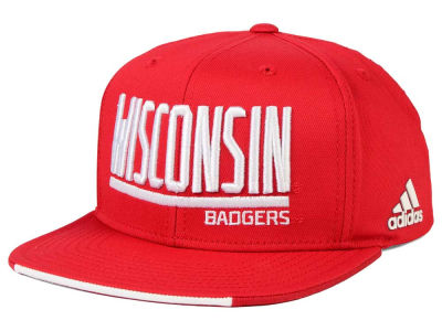 Wisconsin Badgers adidas NCAA Travel Flat Brim Snapback Cap