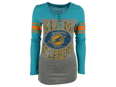 Miami Dolphins 5th & Ocean NFL Women's Henley Long Sleeve T-Shirt