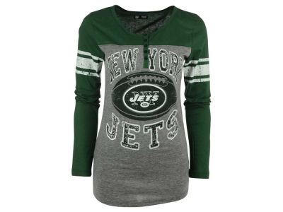 New York Jets 5th & Ocean NFL Women's Henley Long Sleeve T-Shirt