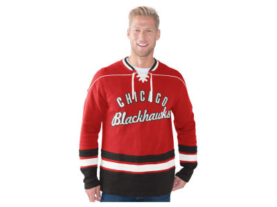Chicago Blackhawks GIII NHL Men's Defenseman Lace-Up Crew Neck Sweatshirt