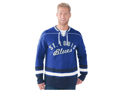 St. Louis Blues GIII NHL Men's Defenseman Lace-Up Crew Neck Sweatshirt