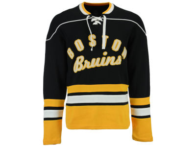 Boston Bruins GIII NHL Men's Defenseman Lace-Up Crew Neck Sweatshirt