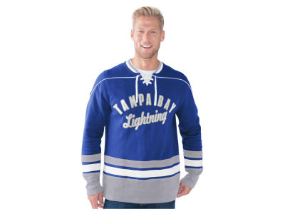 Tampa Bay Lightning GIII NHL Men's Defenseman Lace-Up Crew Neck Sweatshirt