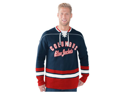 Columbus Blue Jackets GIII NHL Men's Defenseman Lace-Up Crew Neck Sweatshirt
