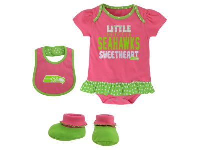Seattle Seahawks NFL Infant Little Sweet Bib & Bootie Set