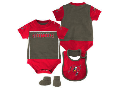 Tampa Bay Buccaneers NFL Infant Lil Jersey Creeper, Bib & Bootie Set