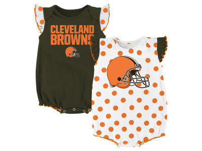 Cleveland Browns Outerstuff NFL Newborn Polka Fan 2 Piece Creeper Set