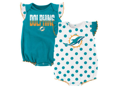 Miami Dolphins Outerstuff NFL Newborn Polka Fan 2 Piece Creeper Set