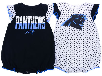 Carolina Panthers Outerstuff NFL Newborn Polka Fan 2 Piece Creeper Set