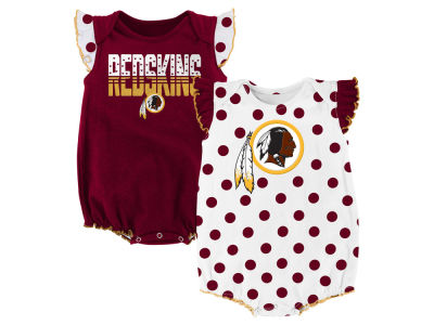 Washington Redskins NFL Newborn Polka Fan 2 Piece Creeper Set