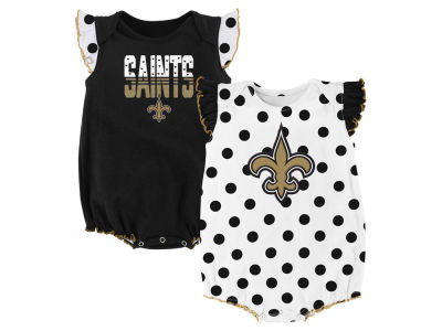 New Orleans Saints Outerstuff NFL Newborn Polka Fan 2 Piece Creeper Set