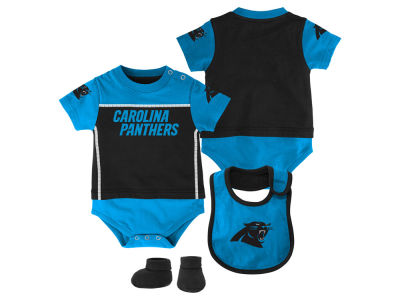 Carolina Panthers Outerstuff NFL Newborn Lil Jersey Creeper, Bib & Bootie Set