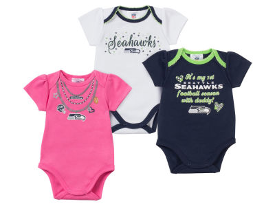 Seattle Seahawks NFL Newborn Girls 3 Pk Bodysuit