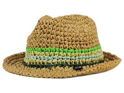 Block Headwear Woven Stripe Straw Fedora