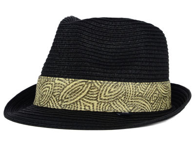 Block Headwear Straw Fedora w/ Printed Band Hat