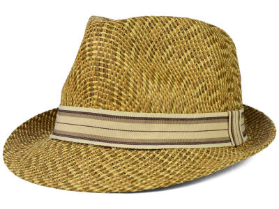 LIDS Private Label PL 3 Tone Straw Fedora with Grosgrain Band